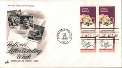 National Letter Writing Week February 24-March 1, 1980 Block of Stamps