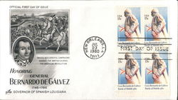 Honoring General Bernardo de Gálvez 1746-1786 - Governor of Spanish Louisiana Block of Stamps