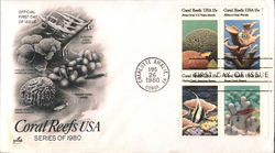 Coral Reefs USA Series of 1980 Block of Stamps