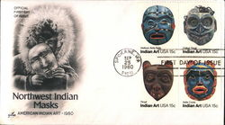Northwest Indian Masks - American Indian Art 1980 Block of Stamps