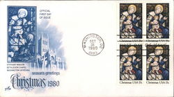Season's Greetings - Christmas 1980 Block of Stamps