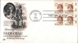 Honoring Sequoyah - Inventor of an Entire Written Alphabet - 19¢ Postal Card Stamp Block of Stamps