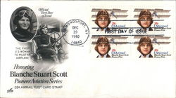 Honoring Blanche Stuart Scott - Pioneer Aviation Series - 28¢ Airmail Post Card Stamp Block of Stamps