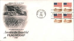 America the Beautiful Flag Stamp 1981 Block of Stamps