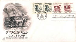 Mail Wagon 1890's 9.3c Bulk Rate Coil Stamp Transportation Series - 1981
