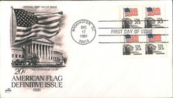 20¢ American Flag Definitive Issue 1981 Block of Stamps