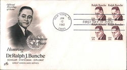 Honoring Dr. Ralph J. Bunche - Scholar - Statesman - Diplomat - Great Americans Series Block of Stamps