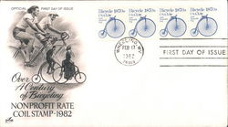 Over a Century of Bicycling Nonprofit Rate Coil Stamp - 1982 Block of Stamps