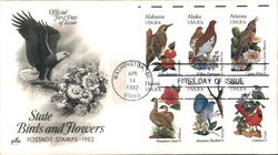 State Birds and Flowers Postage Stamps 1982 Block of Stamps