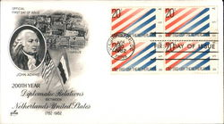 200th Year Diplomatic Relations between Netherlands-United States 1782-1982 Block of Stamps