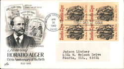 Honoring Horatio Alger 150th Anniversary of His Birth 1832-1982 Block of Stamps