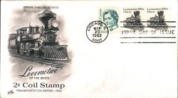Locomotive of the 1870's 2c Coil Stamp - Transportation Series 1982 Block of Stamps