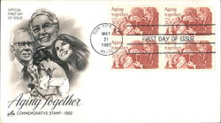 Aging Together Commemorative Stamp 1982 Block of Stamps