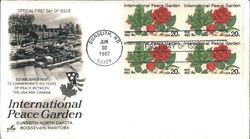 International Peace Garden - Dunseith, North Dakota - Boissevain, Manitoba Block of Stamps