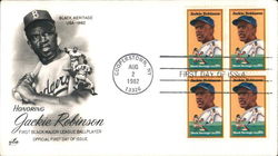 Honoring Jackie Robinson Black Heritage USA - 1982 Block of Stamps