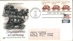 Stagecoach 1890s 4¢ Coil Stamp Transportation Series 1982