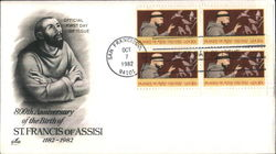800th Anniversary of the Birth of St. Francis of Assisi 1182-1982 Block of Stamps