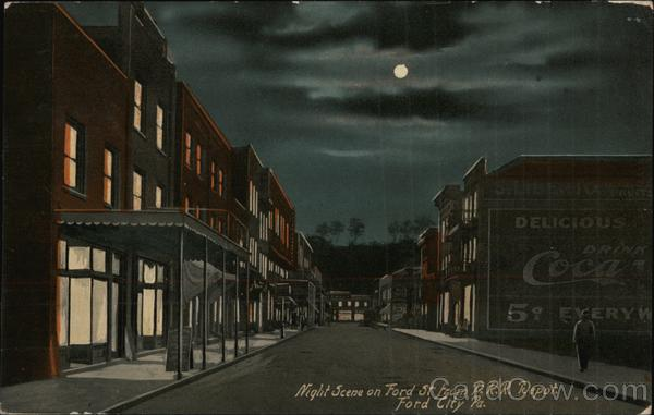 Night Scene on Ford St from P.R.R. Depot Ford City Pennsylvania