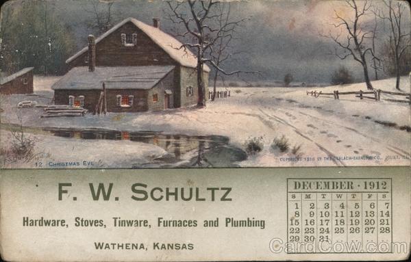 F.W. Schultz, December 1912 Calendar Wathena Kansas