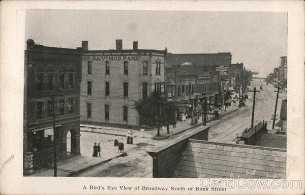 A bird's eye view of Broadway North of Bank Street Lorain Ohio