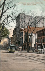 Chapel St. East From Temple Street Postcard
