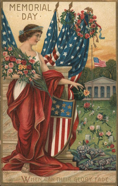 Lady Liberty Holding Flag and Flowers Memorial Day