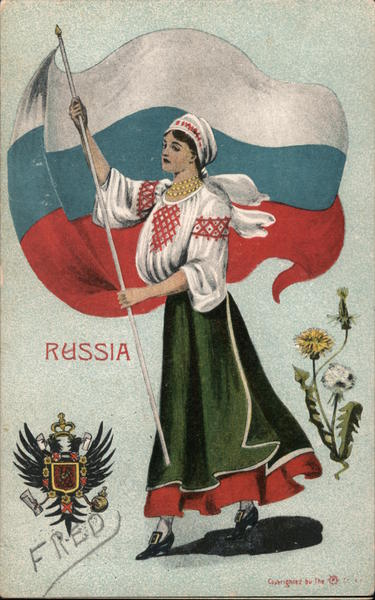 Woman with Flag Russia