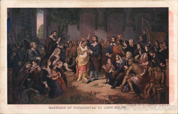 Marriage Of Pocahontas To John Rolfe Native Americana Postcard