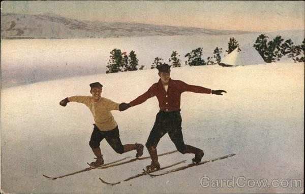 Boys Holding Hands on Cross Country Skis Skiing