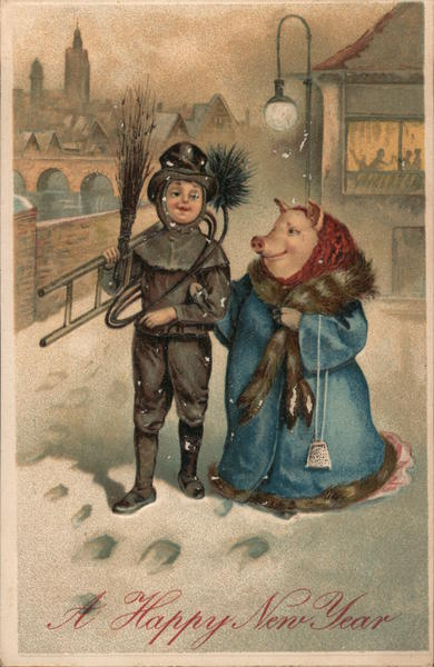 A Happy New Year - Chimney sweep and Pig Pigs