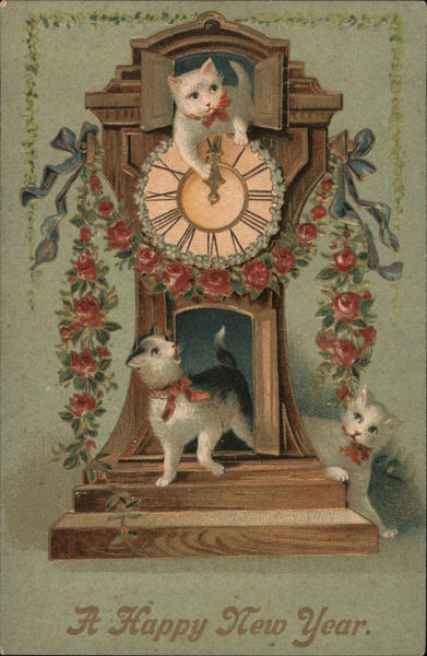 A Happy New Year, Three Cats in a Clock