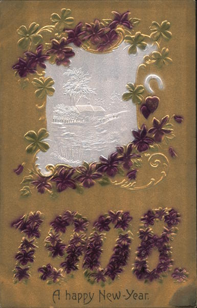 A Happy New Year 1908, Purple Flowers and Horseshoe