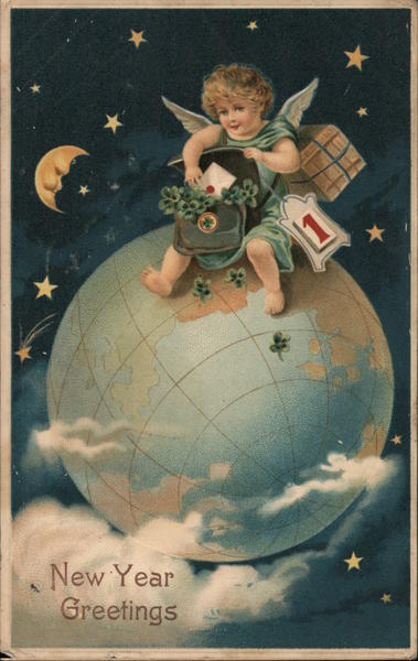 New Year Greetings - Cherub on Top of the World Bringing In New Year