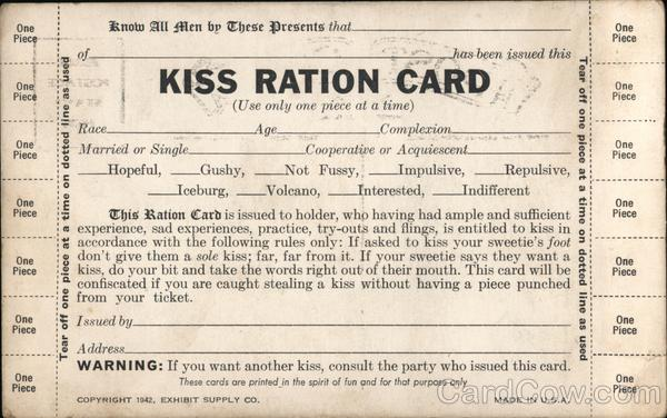 Kiss Ration Card Comic