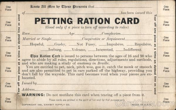 Petting Ration Card Comic