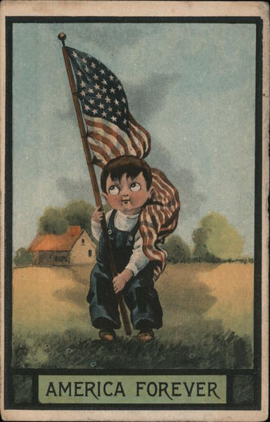 Boy Carrying Flag Patriotic