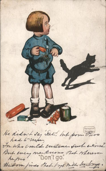 Child with black cat and firecrackers -- Don't go