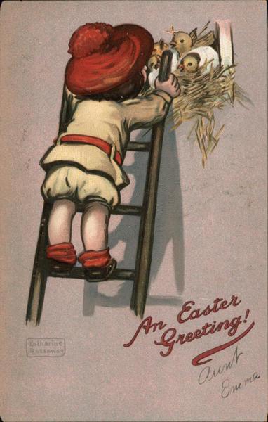 Easter Greeting - Girl on Ladder Katherine Gassaway
