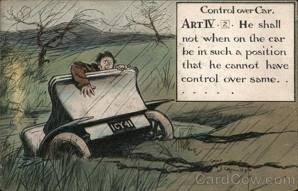 Control over Car. Chas. Crombe Comic, Funny