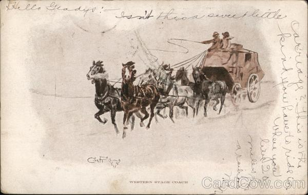 Western Stage Coach Charles Marion Russell Cowboy Western