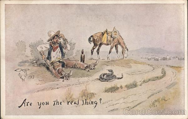 Cowboy Drunk Looking at Rattler Charles Marion Russell