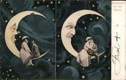 Couple Spooning on Crescent Moon Postcard