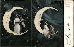 Spooning in the Moon Postcard