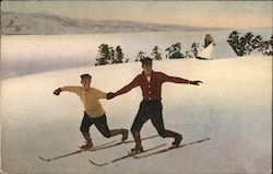 Boys Holding Hands on Cross Country Skis