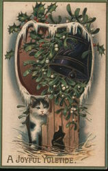 Cat Under Mistletoe and Holley