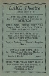 Lake Theatre, Indian Lake, NY, Show Advertisement