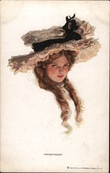 Sweetheart - Long Brown Hair, Big Hat With Black Ribbon