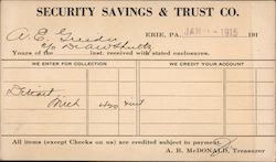 Security Savings & Trust Interest Correspondence Card