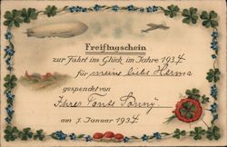 Free Flight Certificate for New Years 1934