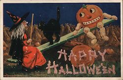 Jack O'Lantern and Witch on See Saw